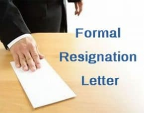 Formal Letter of Resignation Sample