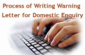 Warning letter for Domestic Enquiry