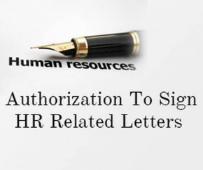 Authorization to Sign HR Related Letters