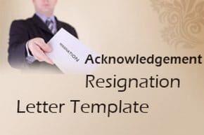 Acknowledgement Resignation Letter Template