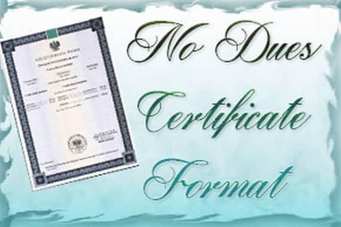 187 No Dues Certificate Format