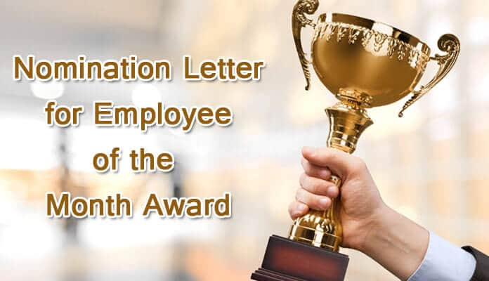 nomination letter for employee of the month award hr letter formats
