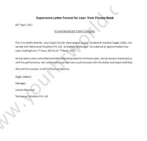 Experience Letter Format Loan from Private Bank