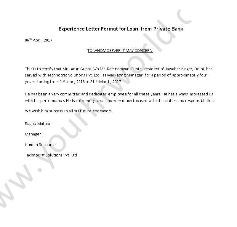 Experience Certificate Letter Format For Loan From Private Bank | HR Letter  Formats  Experience Certificate Formats