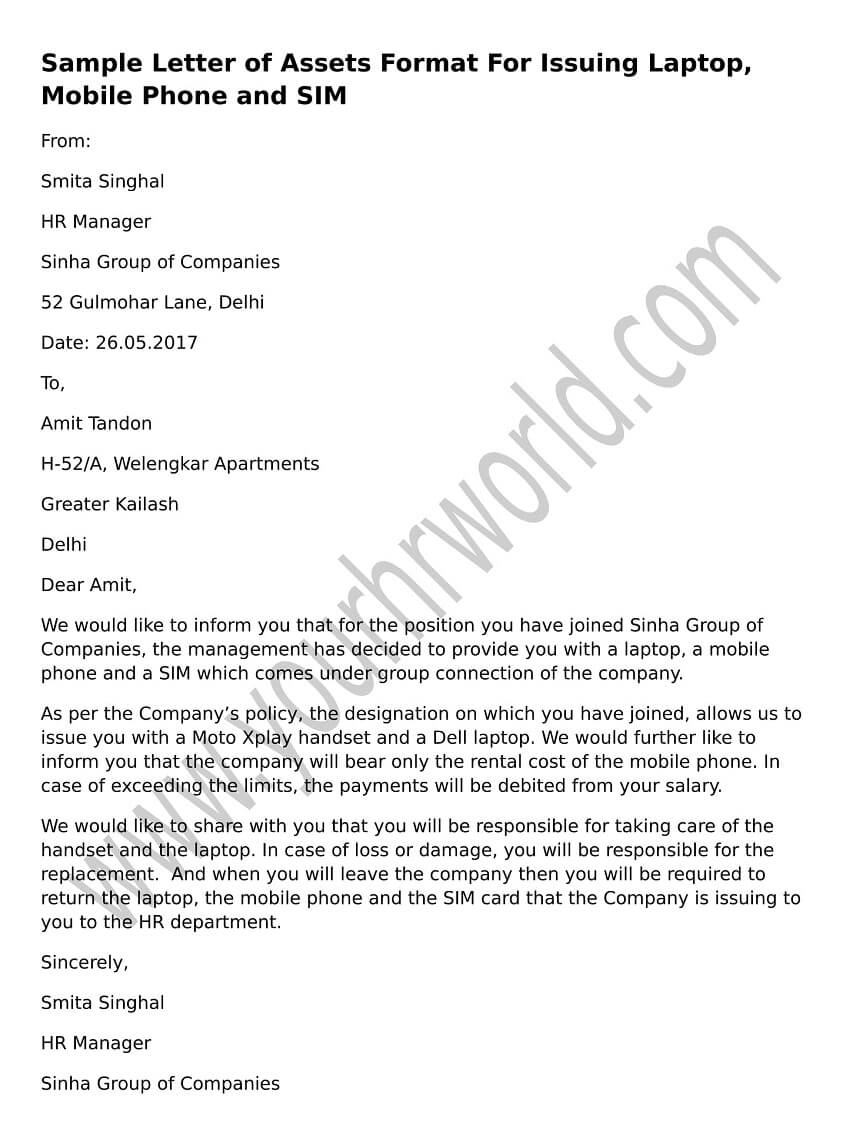 Sample letter of assets format for issuing laptop mobile for Company issued cell phone policy template