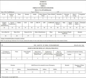 Employee Register Form format