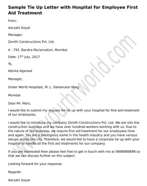 Letter Format Of Tie Up With Hospital For Employee First Aid Treatment