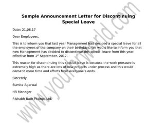 Announcement Letter Format for Discontinuing Special Leave
