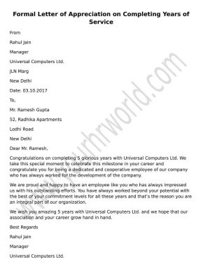 Appreciation Letter For Completing Years Of Service, Appreciation Letter Format