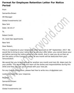 sample format Employee Retention Letter For Notice Period