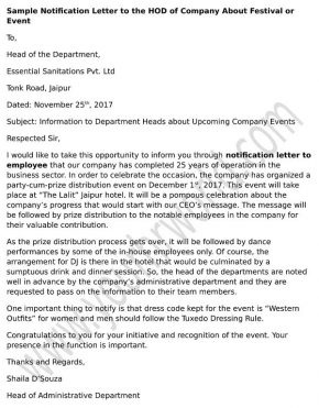 Sample Notification Letter to the HOD of company about Festival or Event