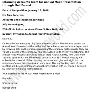 Informing Accounts Team for Annual Meet Presentation through Mail format
