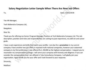 Format Salary Negotiation Letter after New Job Offer Example