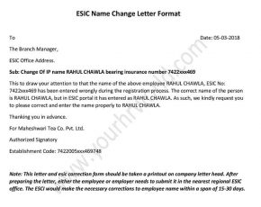 How To Change Employee Name In ESIC Portal - esic name correction letter format pdf, Word