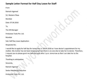 Announcement Letter Format For Half Day Leave, Half Day Leave Application Staffs