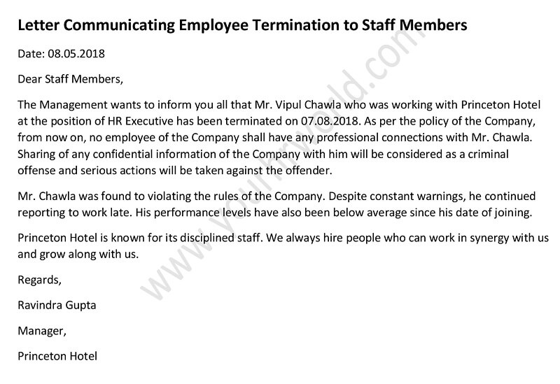 187 Letter Informing Staff About Employee Termination
