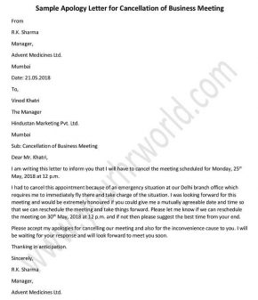 Apology Letter for Cancellation of Business Meeting, Sample Apology Letter