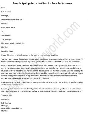 Apology Letter to Client for Poor Performance, Apology Letter to Customer Example