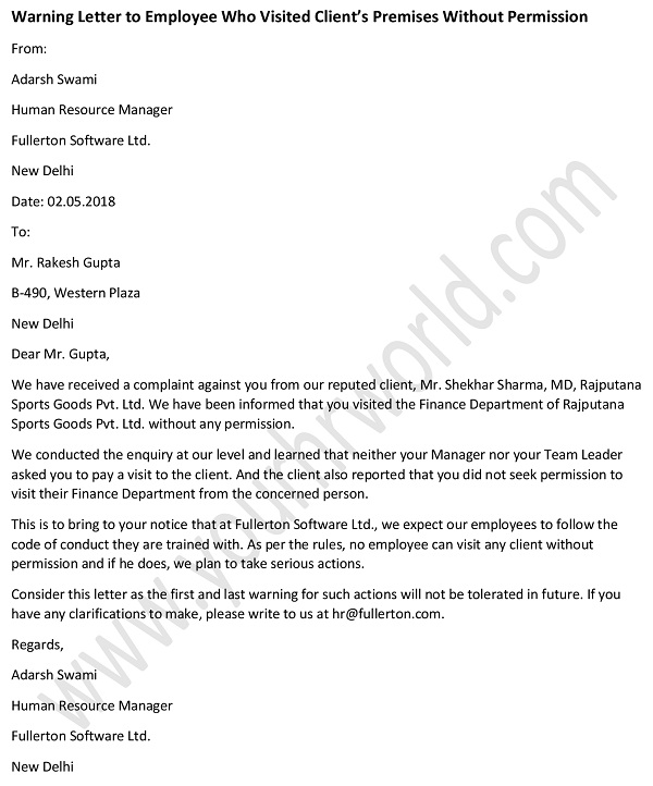 u00bb warning letter to employee who visited client u2019s premises without permission