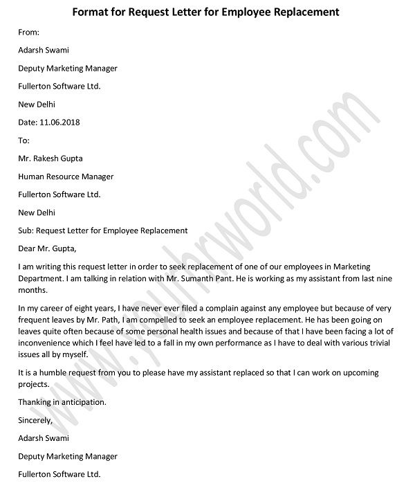 u00bb letter of request for employee replacement