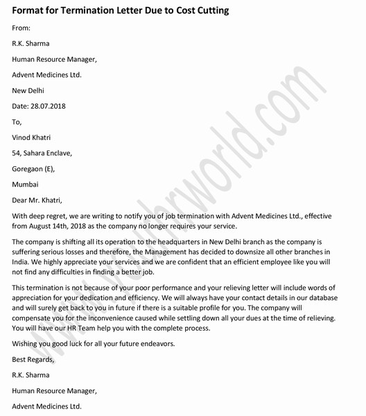 u00bb sample termination letter to employee due to cost cutting