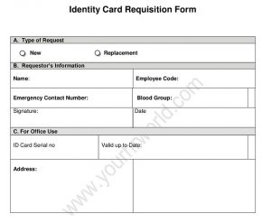 New Employee ID Card Request Form - Identity Card Application Word Format