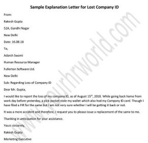 Letter for Lost Company ID Card - Id Card Missing Letter Sample