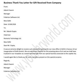 Thank you Letter for Gift from Company - Business Thank You Letter Example