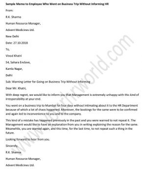 Sample Employee Memo Template - Business Trip Without Informing HR