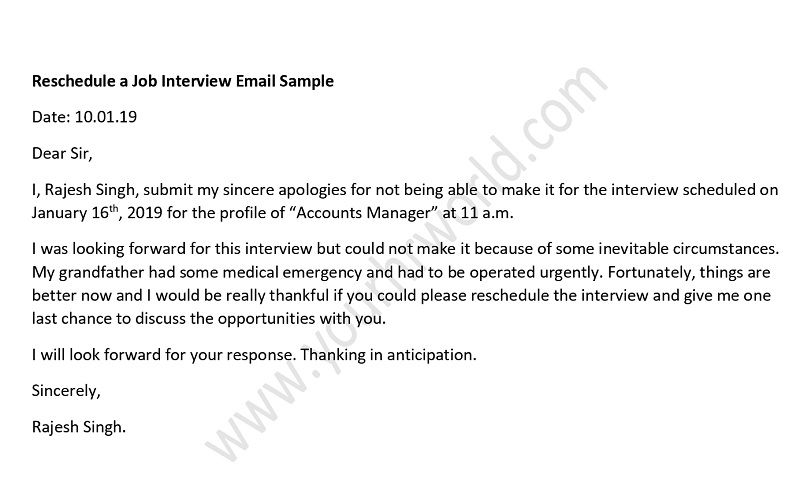 Reschedule Job interview email sample template