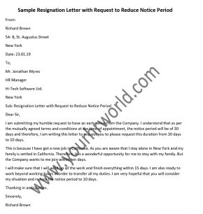 Sample Resignation Letter with Request to Reduce Notice Period