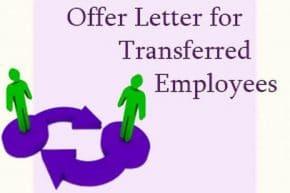 Offer Letter for Transferred Employees