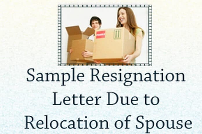 sample resignation letter due to relocation of spouse