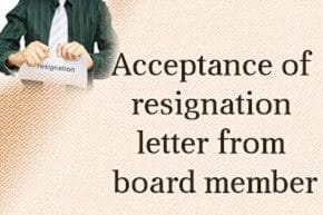 Acceptance of Resignation Letter from Board Member