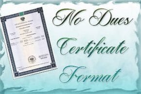 No Dues Certificate Format