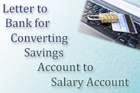savings salary account letter to bank