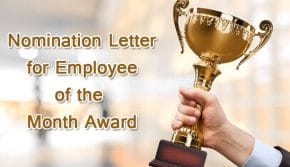 Employee of the month nomination letter for award