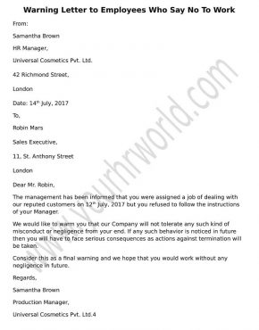 Format Warning letter to employee who refuse to work