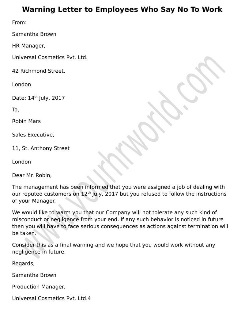 Warning Letter To Employee For Attendance from www.yourhrworld.com