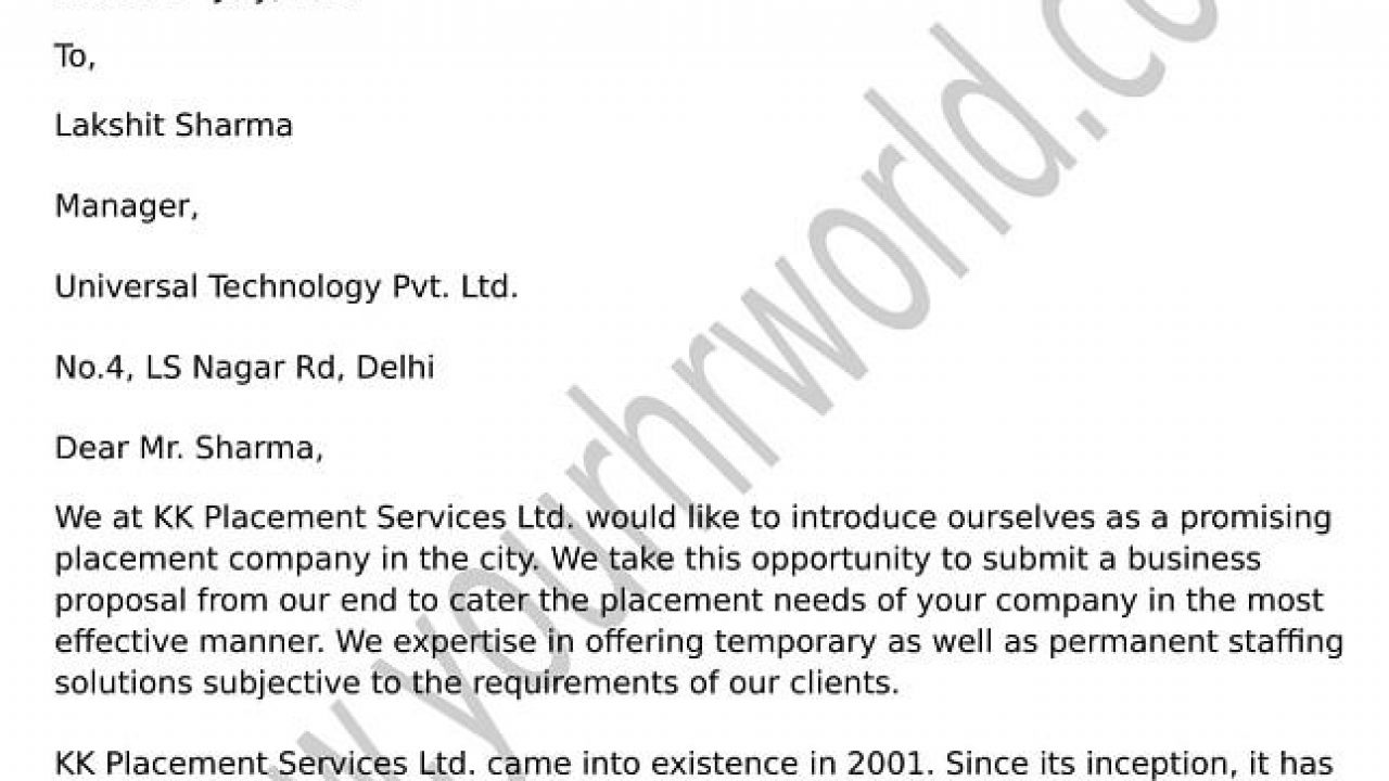 Business Tie Up Proposal Letter Format