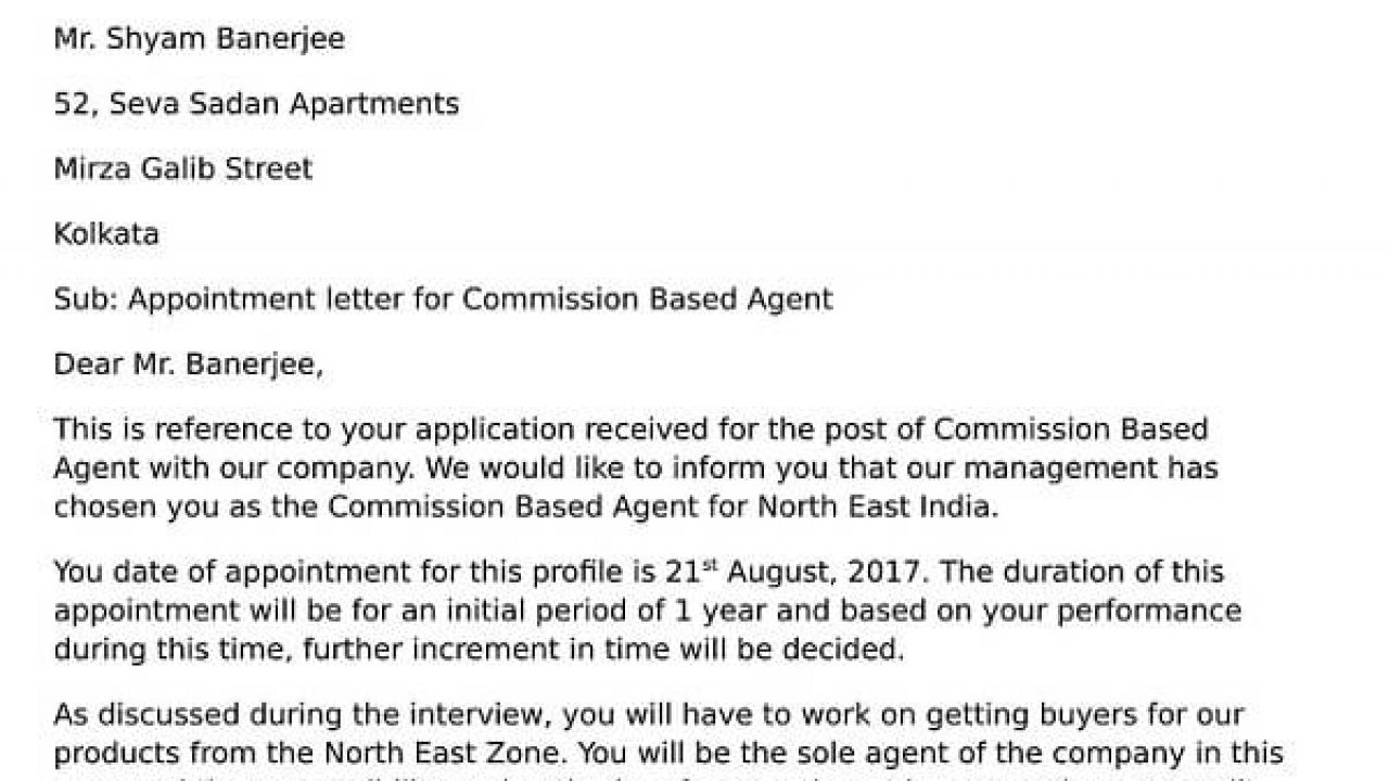 Appointment Letter For Commission Based Agent Hr Letter Formats