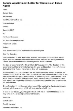 sample Appointment Letter Commission Based Agent's