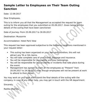 Letter To Employees On Their Team Outing Sanction Hr