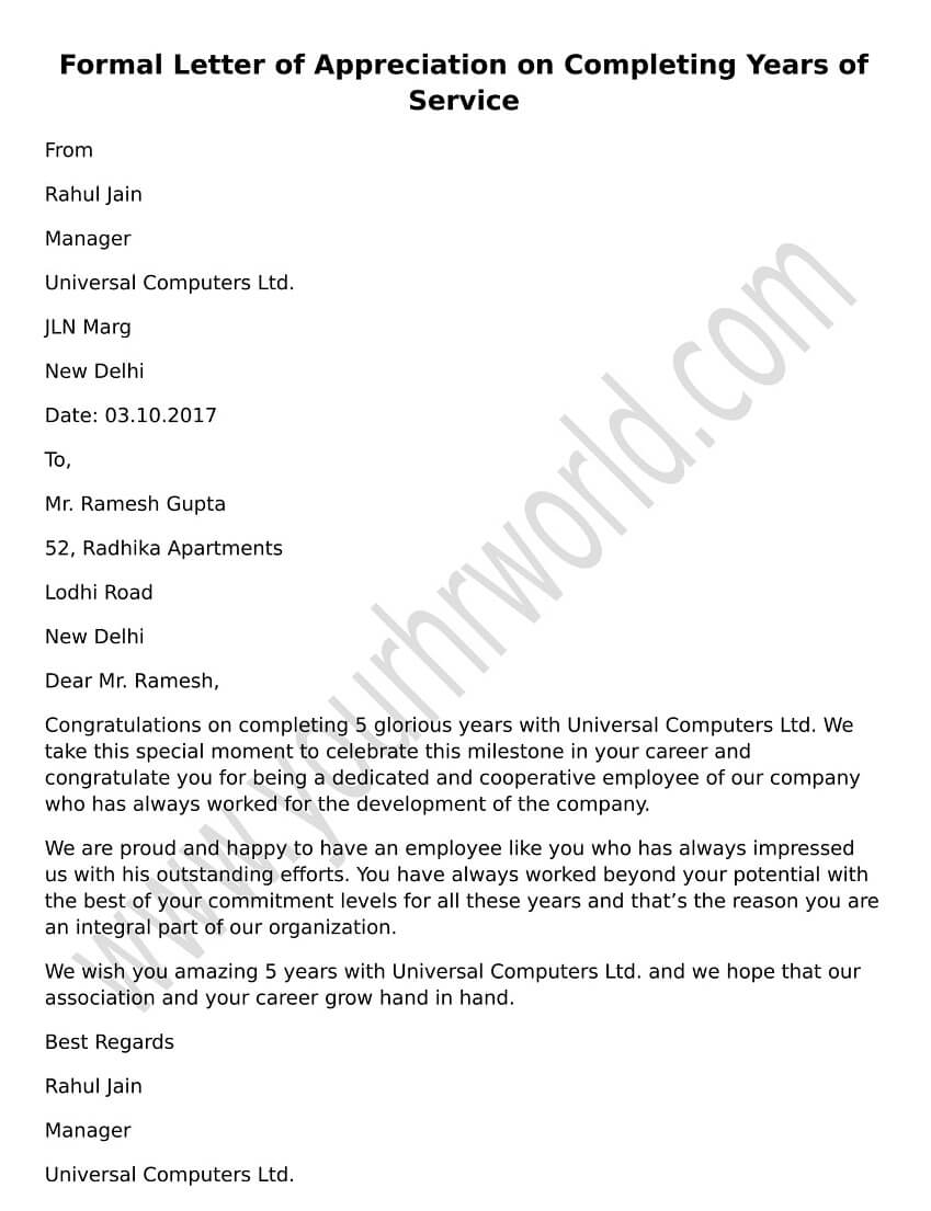 Formal Letter Of Appreciation On Completing Years Of Service Hr Letter Formats