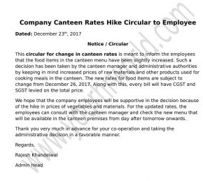 Company Canteen Rates Hike Circular to Employee letter format