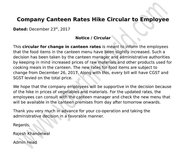 company canteen rates hike circular to employee