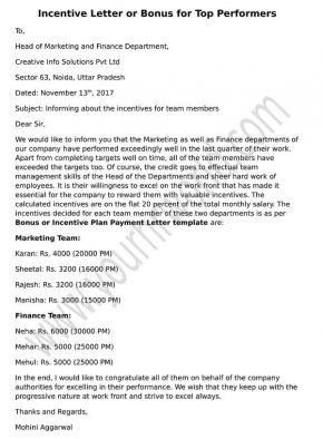 Incentive letter, sample bonus letter top performers