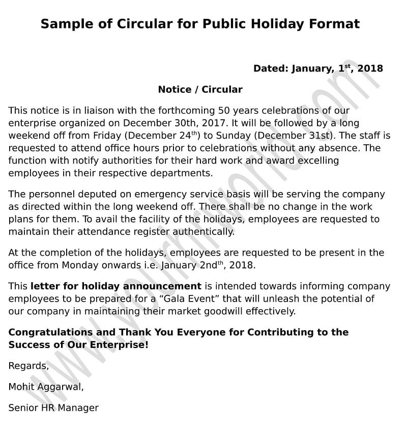 public holiday announcement mail  notice  memo format to