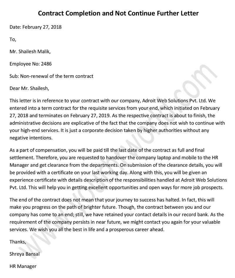 contract completion and not continue further letter format