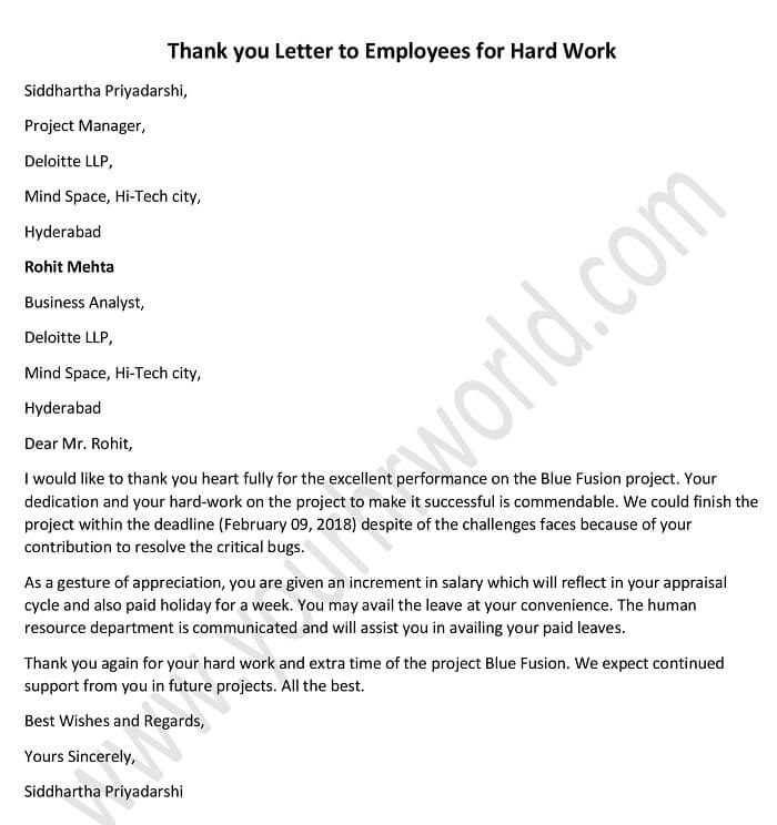 thank you letter to employees for hard work